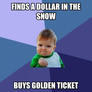 finds a dollar in the snow